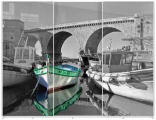 Panel szklany do szafy przesuwnej - un bateau au vallon des auffes