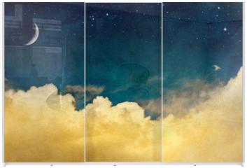 Panel szklany do szafy przesuwnej - Moon and Cloudscape