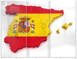 Panel szklany do szafy przesuwnej - 3D Map of Spain