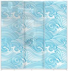 Panel szklany do szafy przesuwnej - Japanese seamless waves pattern in ocean colors