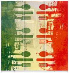 Panel szklany do szafy przesuwnej - Italian Menu Vector Template