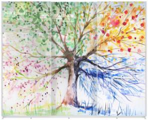 Panel szklany do szafy przesuwnej - Four season tree