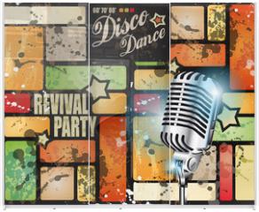 Panel szklany do szafy przesuwnej - Retro' revival disco party flyer