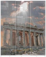 Panel szklany do szafy przesuwnej - sunburst over the acropolis temple