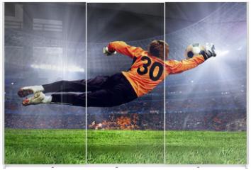 Panel szklany do szafy przesuwnej - Football goalman on the stadium field