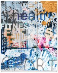Panel szklany do szafy przesuwnej - FITNESS. Word Grunge collage on background.