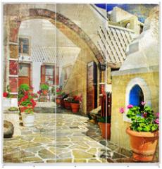 Panel szklany do szafy przesuwnej - pictorial streets of Santorini