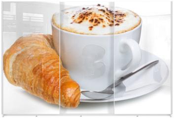 Panel szklany do szafy przesuwnej - coffee and croissant