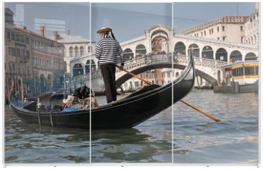 Panel szklany do szafy przesuwnej - Gondolier, Rialto Bridge, Grand Canal, Venice, Italy