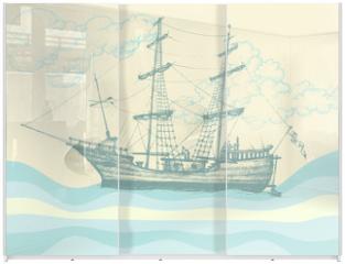 Panel szklany do szafy przesuwnej - Vintage sailing boat