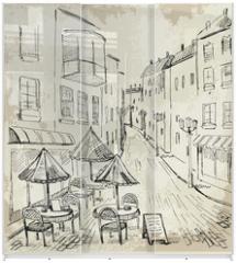 Panel szklany do szafy przesuwnej - Street cafe