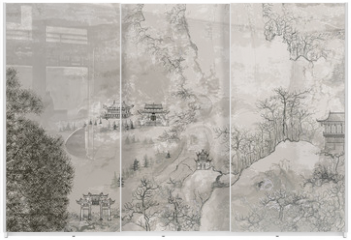 Panel szklany do szafy przesuwnej - Chinese landscape
