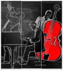 Panel szklany do szafy przesuwnej - Jazz band