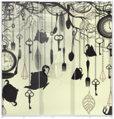 Panel szklany do szafy przesuwnej - Antique background with tea party theme