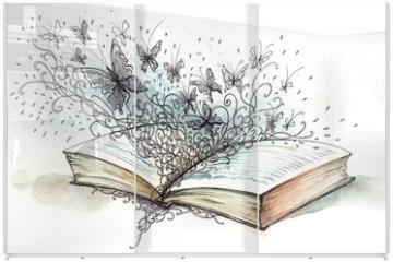 Panel szklany do szafy przesuwnej - book with butterflies (Cbm painting)