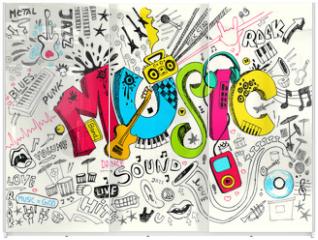 Panel szklany do szafy przesuwnej - Music Doodle