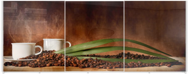 Panel szklany do szafy przesuwnej - Caffè in tazza, con chicchi sparsi sulla tavola