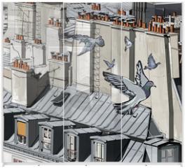 Panel szklany do szafy przesuwnej - roofs in Paris