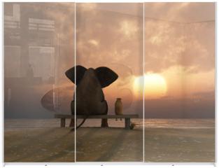 Panel szklany do szafy przesuwnej - elephant and dog sit on a summer beach