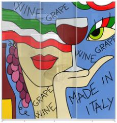 Panel szklany do szafy przesuwnej - astratto con vino