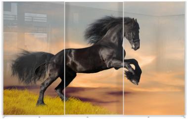 Panel szklany do szafy przesuwnej - Black Friesian horse gallops in sunset