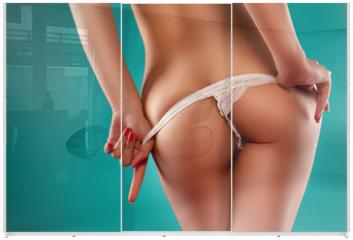 Panel szklany do szafy przesuwnej - Sensual Woman Stripping Off Her Lingerie
