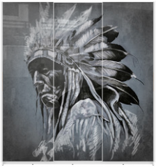 Panel szklany do szafy przesuwnej - Tattoo art, portrait of american indian head over dark backgroun