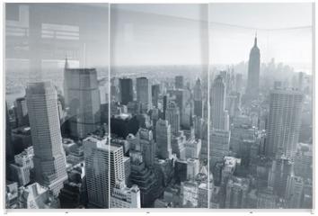 Panel szklany do szafy przesuwnej - New York City skyline black and white