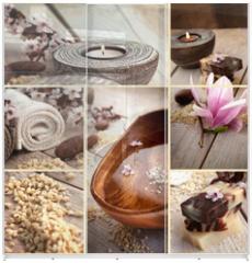 Panel szklany do szafy przesuwnej - Spa collage with magnolia flower