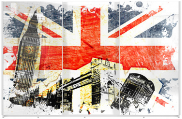 Panel szklany do szafy przesuwnej - drapeau anglais decoupe