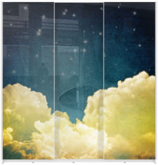 Panel szklany do szafy przesuwnej - cloudscape