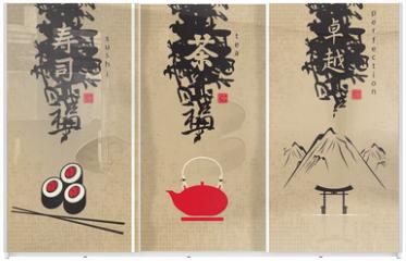 Panel szklany do szafy przesuwnej - three menu of Japanese cuisine