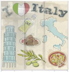 Panel szklany do szafy przesuwnej - Italy travel grunge card