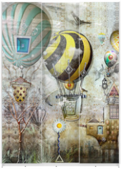 Panel szklany do szafy przesuwnej - Party Ballons