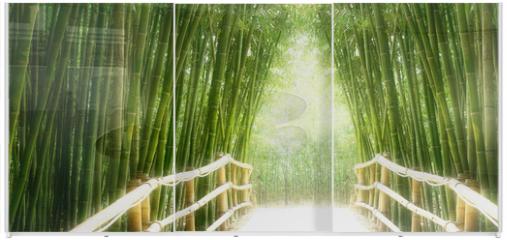 Panel szklany do szafy przesuwnej - Bambus-Allee