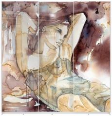 Panel szklany do szafy przesuwnej - kobieta z rękoma pod głową