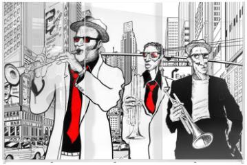 Panel szklany do szafy przesuwnej - jazz band in a street of new-York