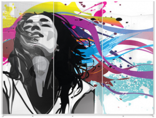 Panel szklany do szafy przesuwnej - Girl with colour splash background vector
