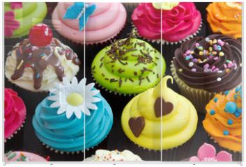 Panel szklany do szafy przesuwnej - Cupcakes