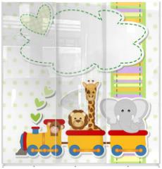 Panel szklany do szafy przesuwnej - baby shower - train - trenino con animali