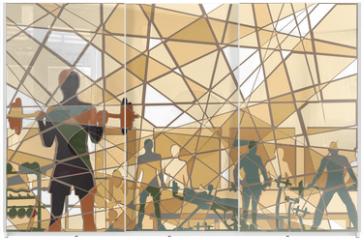 Panel szklany do szafy przesuwnej - Mosaic gym