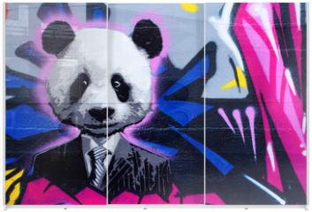 Panel szklany do szafy przesuwnej - Suited panda