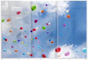 Panel szklany do szafy przesuwnej - Luftballons, toy balloons, Copy space