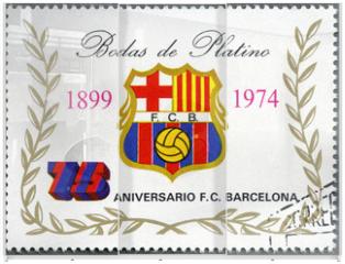 Panel szklany do szafy przesuwnej - EQUATORIAL GUINEA - 1974: shows label of Barcelona Soccer Team