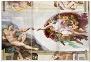 Panel szklany do szafy przesuwnej - Creation of Adam by Michelangelo, Sistine Chapel, Rome