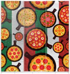 Panel szklany do szafy przesuwnej - Italian pizza flavors pattern