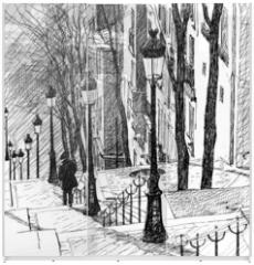 Panel szklany do szafy przesuwnej - Montmartre in Paris