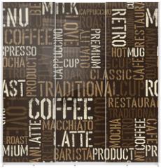 Panel szklany do szafy przesuwnej - Seamless coffee experience pattern. Vector, EPS8.