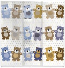 Panel szklany do szafy przesuwnej - vector seamless pattern of a toy teddy bear