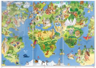 Panel szklany do szafy przesuwnej - Great and funny world map